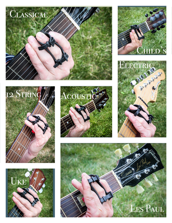 Use the Rock-iT Barre chord device on any guitar or ukulele